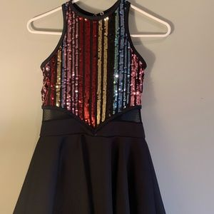 Weissman Rainbow Sequin Jazz Dress Costume